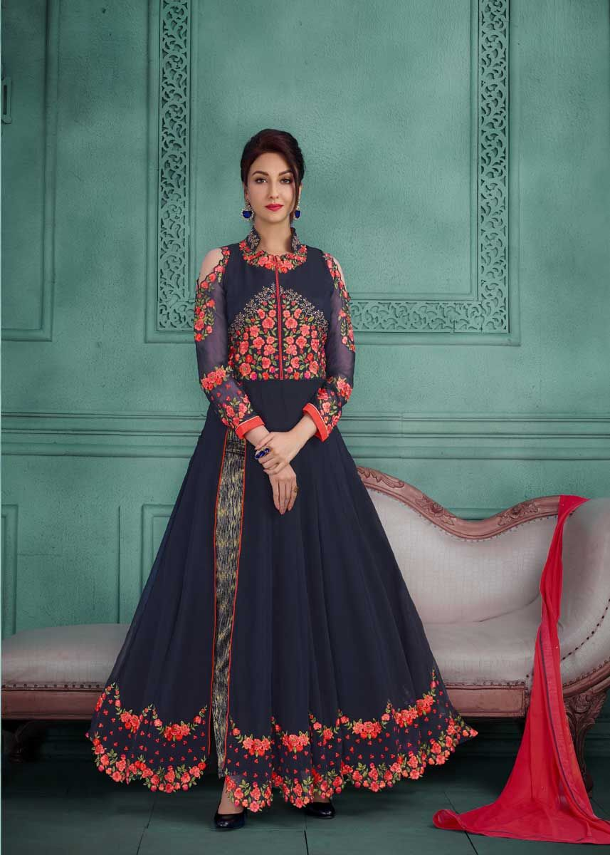 9e3a8dfd83 Stay stylish and trendy wearing this beautiful navy blue color georgette  embroidered party wear anarkali suit detailed with exclusive and beautiful  ...