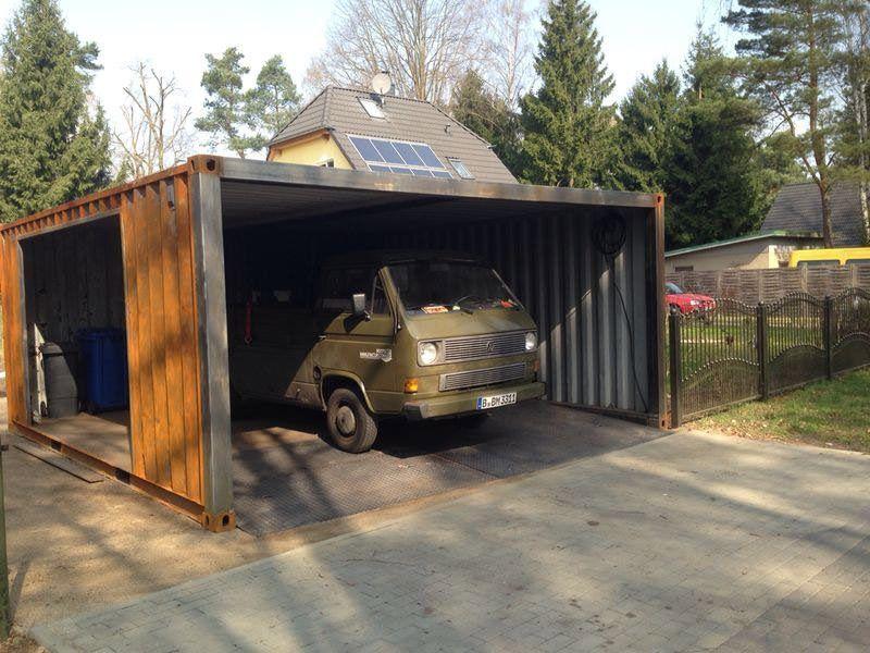 Ein Container als Garage Frachtcontainer häuser