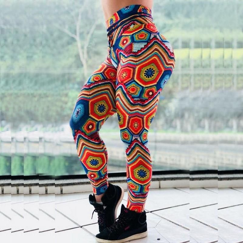 321b505dad21e0 Mandala Flower Digital Print Slim Pink Fitness Woman Leggings in ...