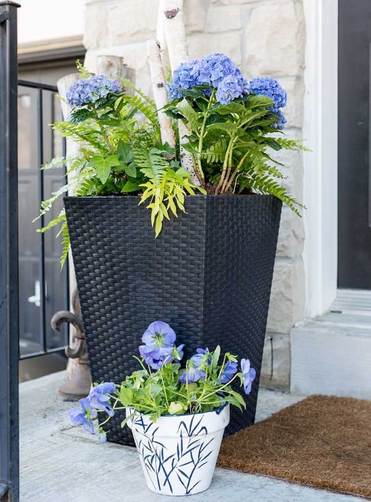 Blue And White Flowers In Front Of Porch Best Front Door Flower Pot Ideas Pretty Porch Flower Pots And Porch Planters Porch Flowers Front Porch Flower Pots
