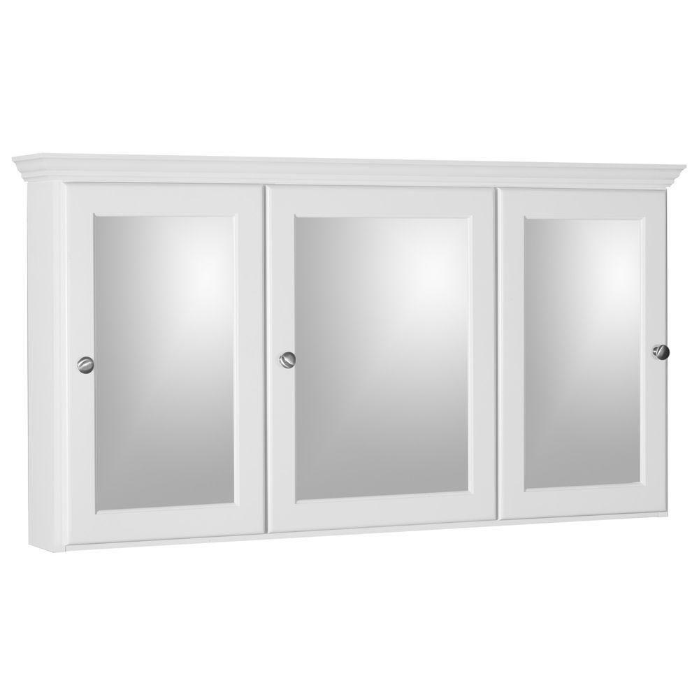 Simplicity By Strasser Ultraline 48 In W X 27 In H X 6 1 2 In D Framed Tri View Surface Mount Bathroom Medicine Cabinet In Satin White 01 860 2 Bathroom Medicine