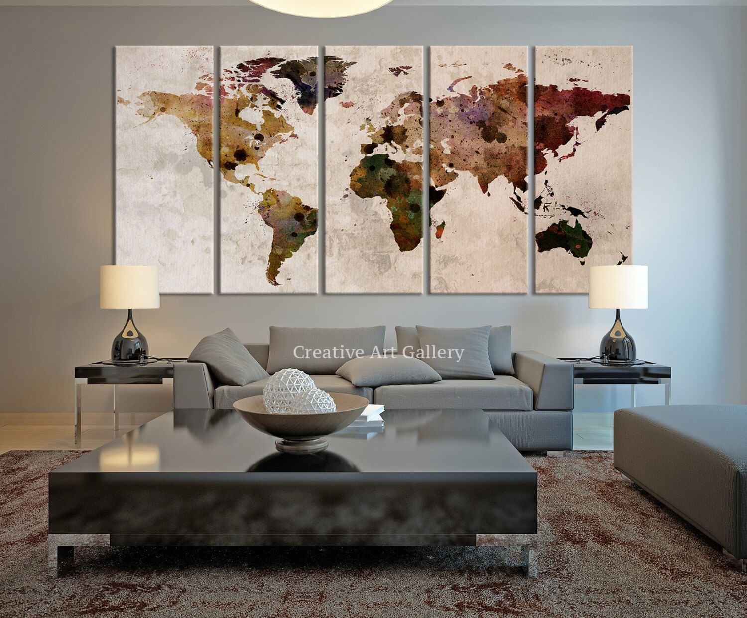 World map large canvas print rustic world map large wall art