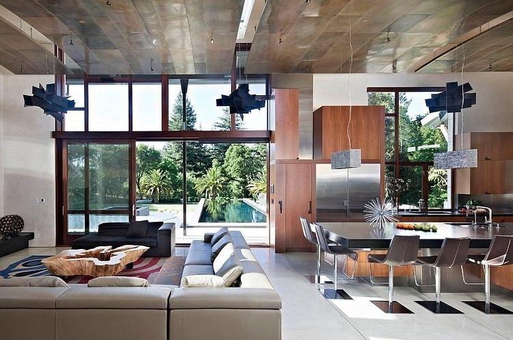 Saratoga Creek House By Wa Design Sunken Living Room Open Space