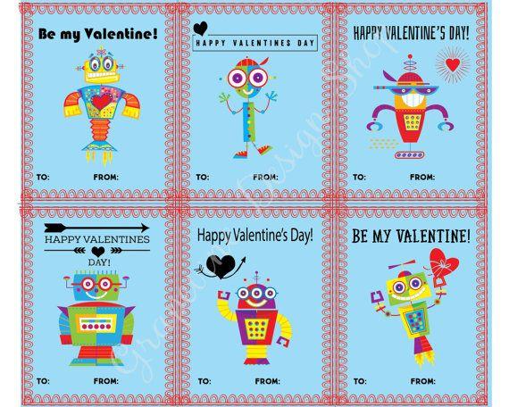 Valentine S Kids Robot Valentine S Day Cards Instant Printable