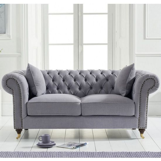Holbrook Chesterfield 2 Seater Sofa In Grey Linen Furniture In Fashion Chesterfield Sofa Living Room Fabric Sofa Uk Best Leather Sofa