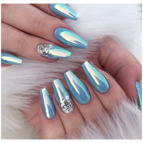 Ice Blue Chrome Coffin Nails By Margaritasnailz Aqua Nails Winter Nails Acrylic Glitter Nails Acrylic