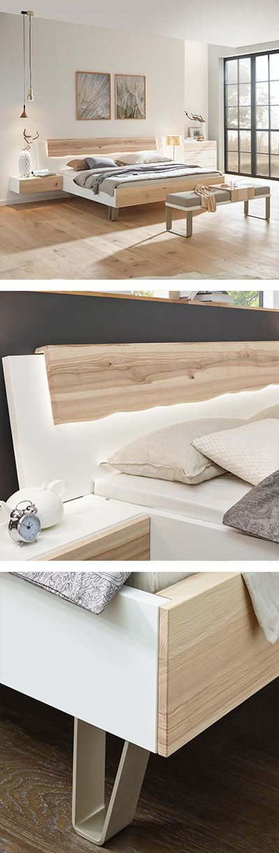 Bett mit Lichter, Holzbett Braun, Weiß Bett, Haus deko, Haus