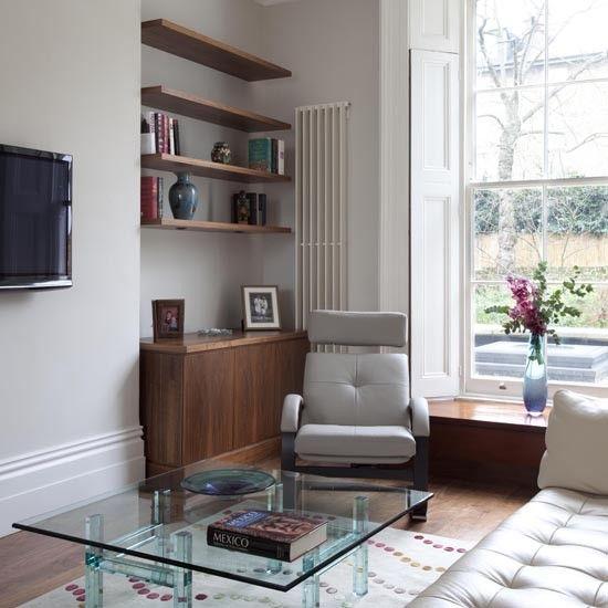 Retro floating shelves | Living room storage 10 ideas ...