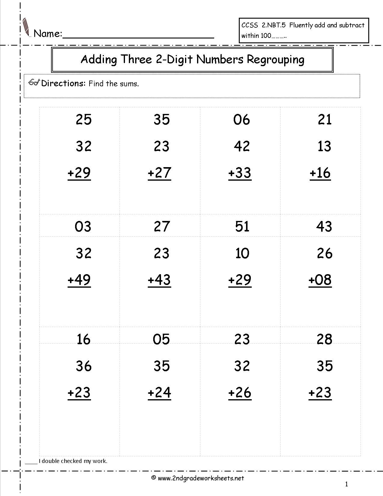 worksheet Three Digit Addition And Subtraction With Regrouping two digit addition worksheet satta pinterest worksheets with and without regrouping