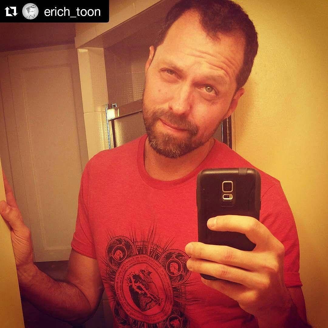 #Repost of @erich_toon wearing his Sacred Heart men's tee!  Bug eye!  #badselfie #scruff #designedtolife #sacredHeart #tee #tshirt