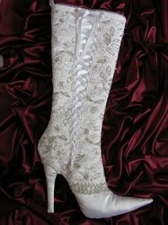 Stiletto Heel Stocking Pattern featuring the elegance of lace & a corset style lace-up front.
