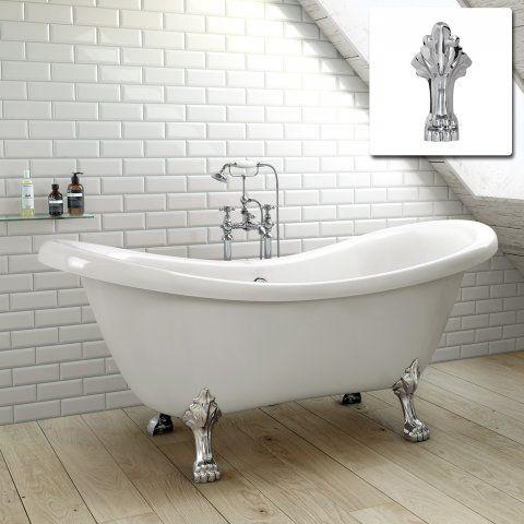 1760mm victoria traditional roll top double slipper bath - drago in