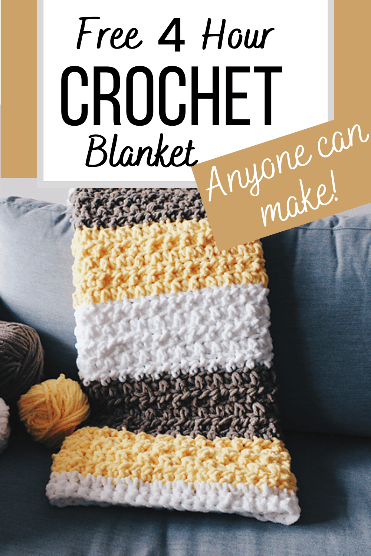 4 Hour Crochet Baby Boy Blanket (Free Pattern) - C
