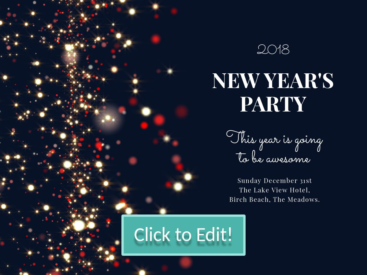 Multicolor Bubble Patterns On An Editable New Year Party Invitation For A Facebook Post With A Black Ba New Years Party Party Invite Template Party Invitations