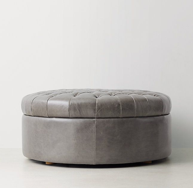 Tufted Large Round Leather Storage Ottoman Furniture