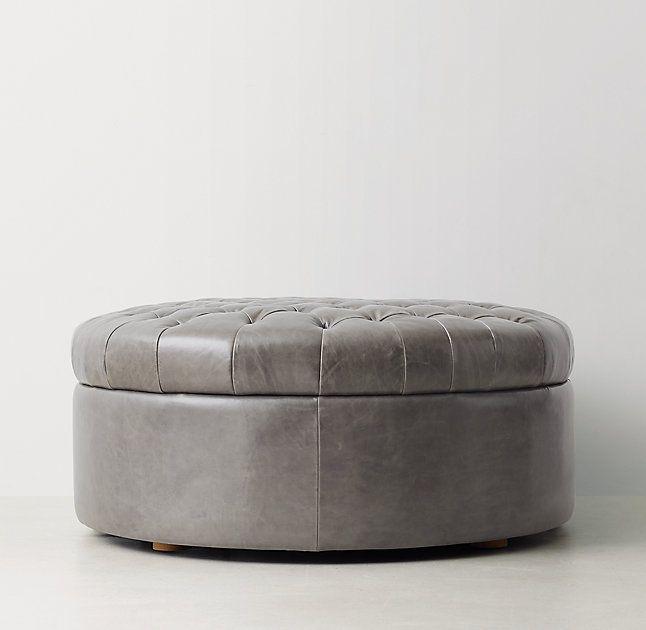 Tufted Large Round Leather Storage Ottoman Leather Storage