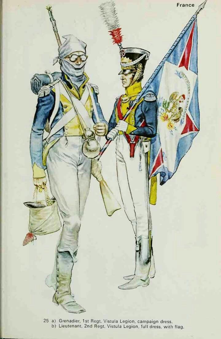 Granatiere del 1 rgt. e tenente alfiere del 2 rgt. fanteria della legione della Vistola