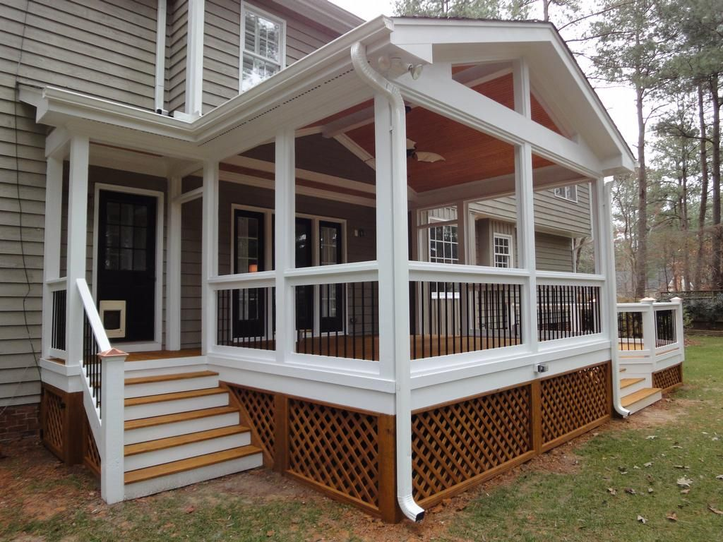 Screen in porches decks screen porch with side entrance provided by wilmington deck and screen Screened porch plans designs