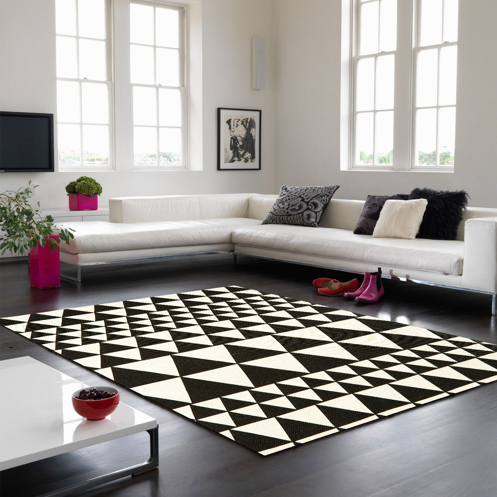 Onix On06 Triangles Black White Rug By Asiatic Rugs In Living Room Stripe Rug Living Room Contemporary Rug
