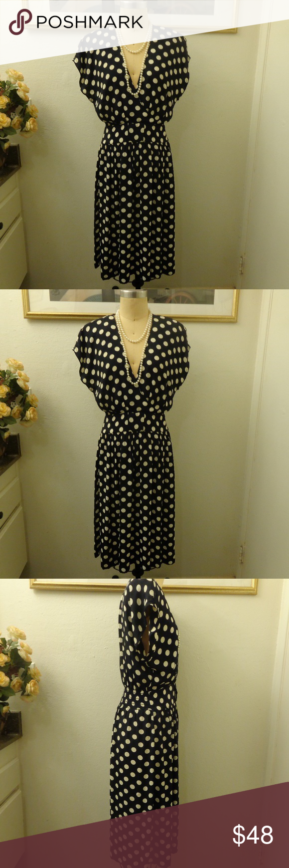 a3b77dd9e01b A.B.S Collection Vintage Polka Dot Midi Dress A.B.S Collection Vintage Polka  Dot Midi Dress. Has removable shoulder pads. In good condition!