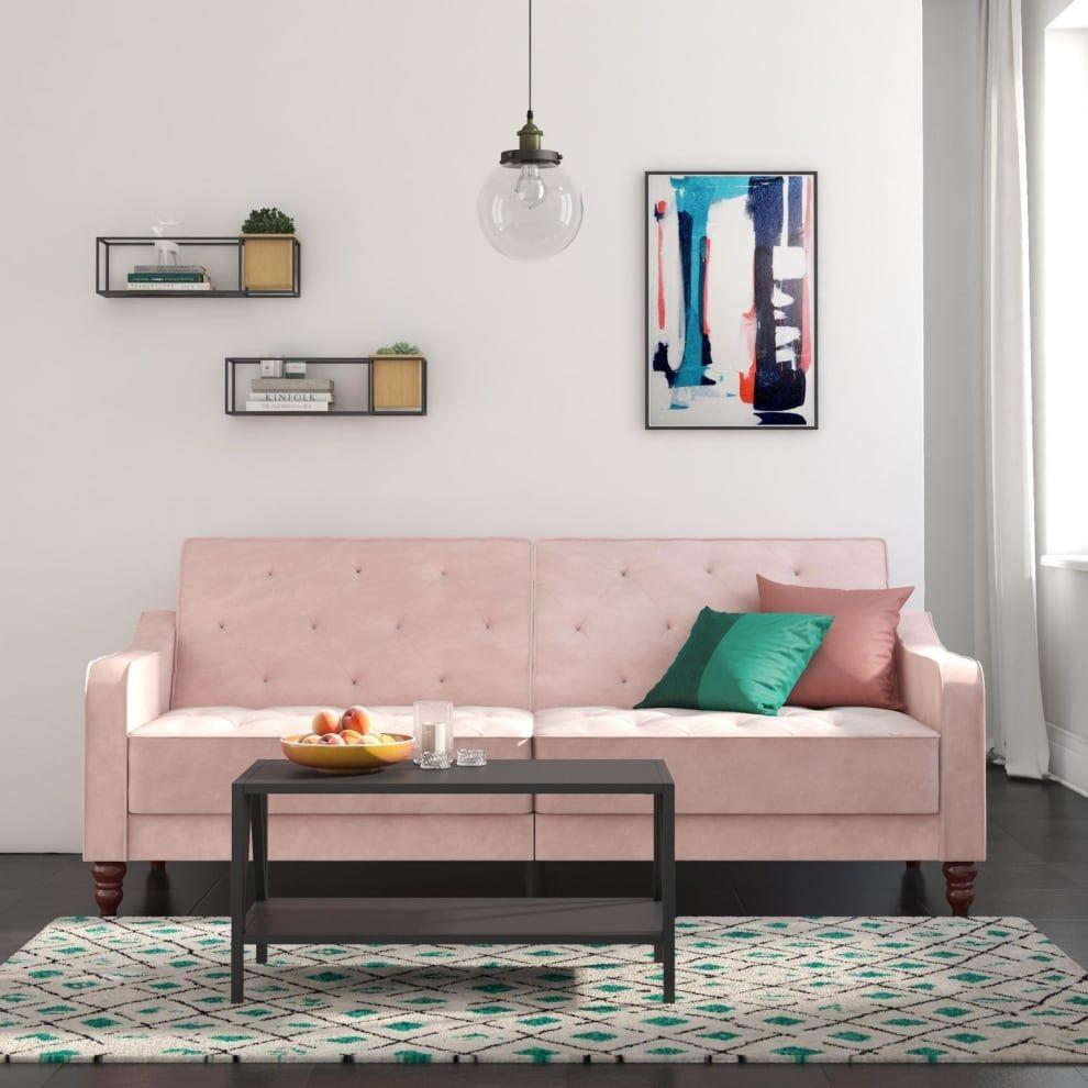 cbb139bfa4ca8fe19c9c82441dca9019 - Better Homes & Gardens Porter Fabric Tufted Futon Rust Orange