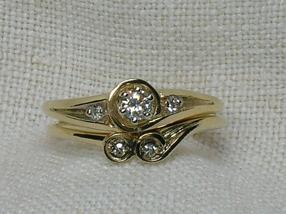 Vintage Wedding Rings Set Abstract Bubbles 1980s