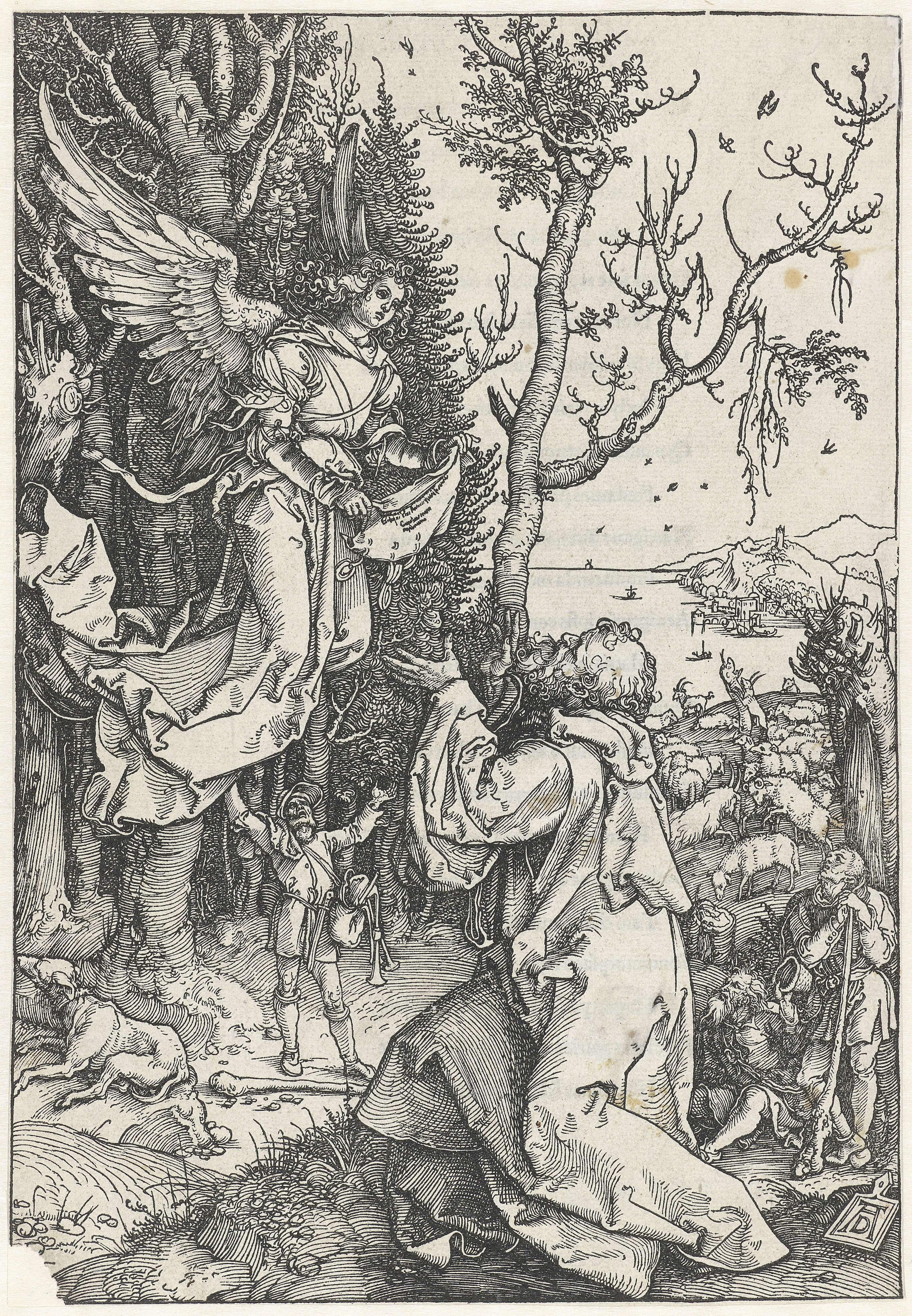 Albrecht Dürer | De aankondiging aan Joachim, Albrecht Dürer, 1502 - 1506 | In een bos knielt Joachim voor een engel, die de geboorte van zijn dochter Maria aankondigt. Op de achtergrond enkele herders en hun kudden. Nog verder op de achtergrond een baai. Op versozijde gedrukte Latijnse tekst. Deze prent is onderdeel van een serie van 20 prenten, bestaand uit een titelprent en 19 prenten met scènes uit het leven van Maria.