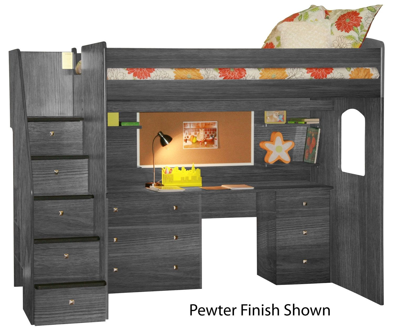 Utica Dorm Loft Bed With Workstation Bedroom Ideas Bed Lofted