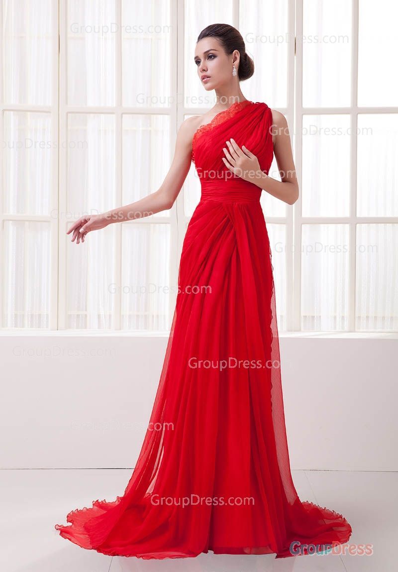 Red chiffon evening dress beautiful dresses pinterest dress
