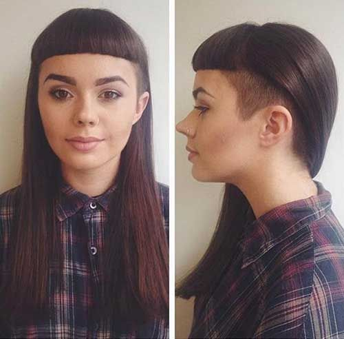 side shaved long hair with bangs
