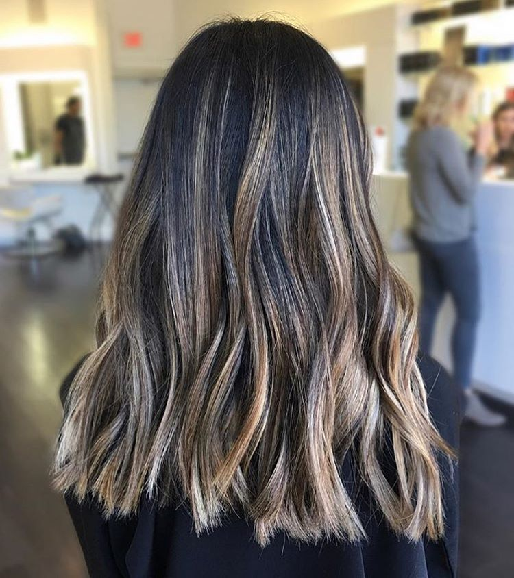 Dark Brown Wavy Hair With Subtle Light Beige Blonde Balayage Beige Blonde Balayage Brown Blonde Hair Brown Hair With Blonde Balayage