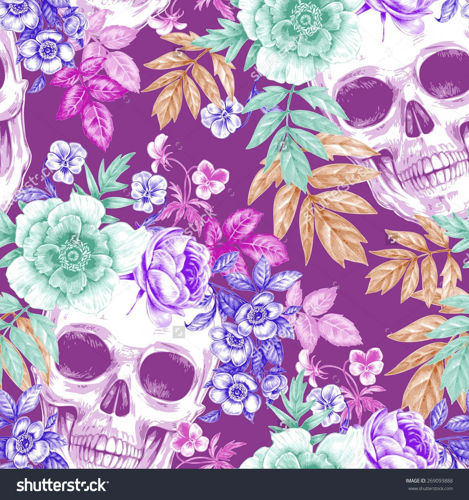 Skulls Flower Wallpaper - Google Search