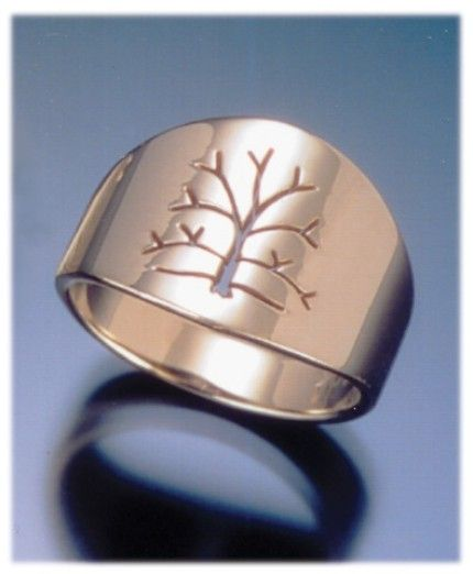 Tree Of Life Ring Womens Gold Woodland Wedding Band Handmade In Maine
