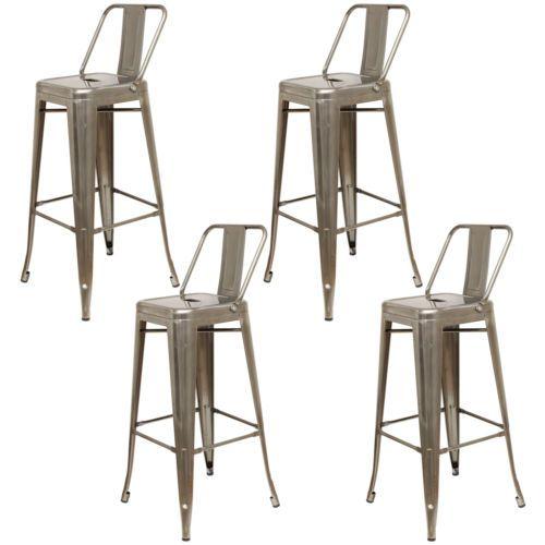 Details About Gunmetal Grey Metal Breakfast Bar Stool Industrial Retro Seat Chair Back Rest Retro Bar Stools Bar Stools Accent Chairs For Sale