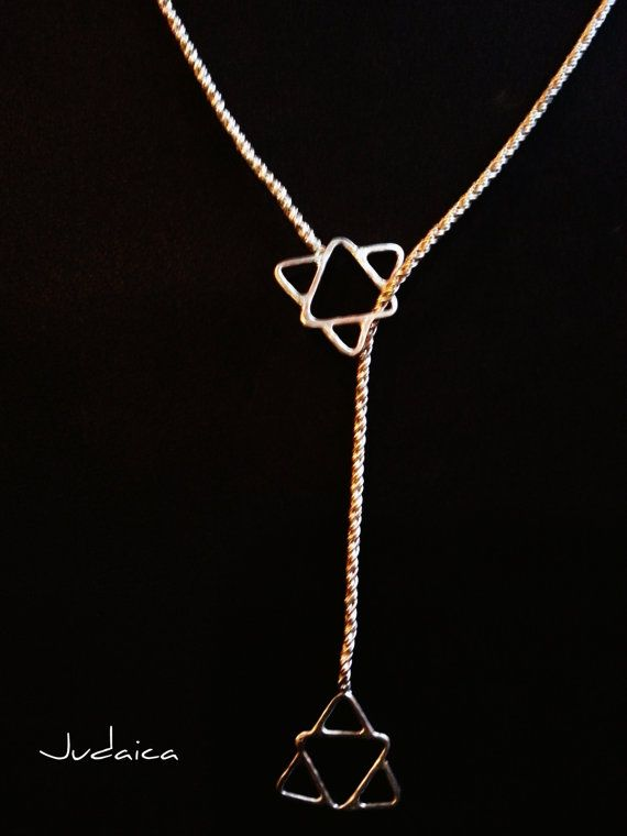 Unisex Textured Judaica Lariat Necklace with by BOMBitaDesigns, $138.00