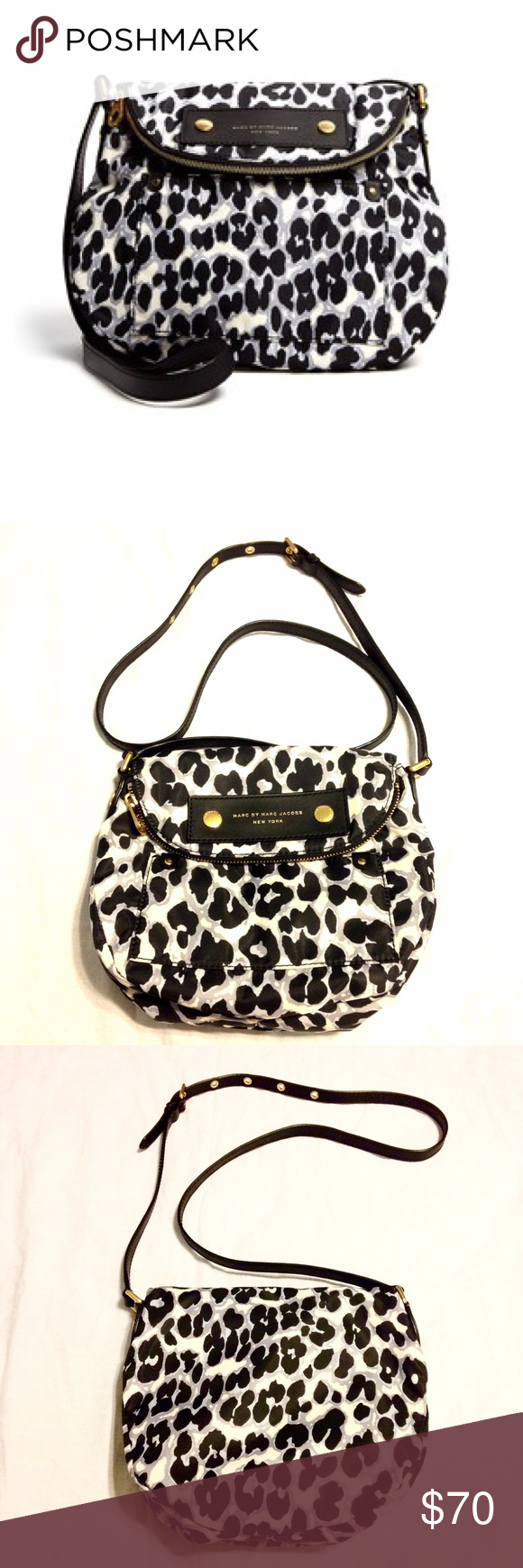 ❗️SALE❗️Marc Jacobs Leopard Print Sasha Crossbody Practically brand new. Used it only once, it's not really my style. Colors are white, black, purple. Hardware is gold, material is nylon. Measurements: 10 x 3 x 8.5. This was my first and only Marc Jacobs purse and I'm willing to part. Condition is excellent. Absolutely no trades or lowball offers. Marc by Marc Jacobs Bags Crossbody Bags