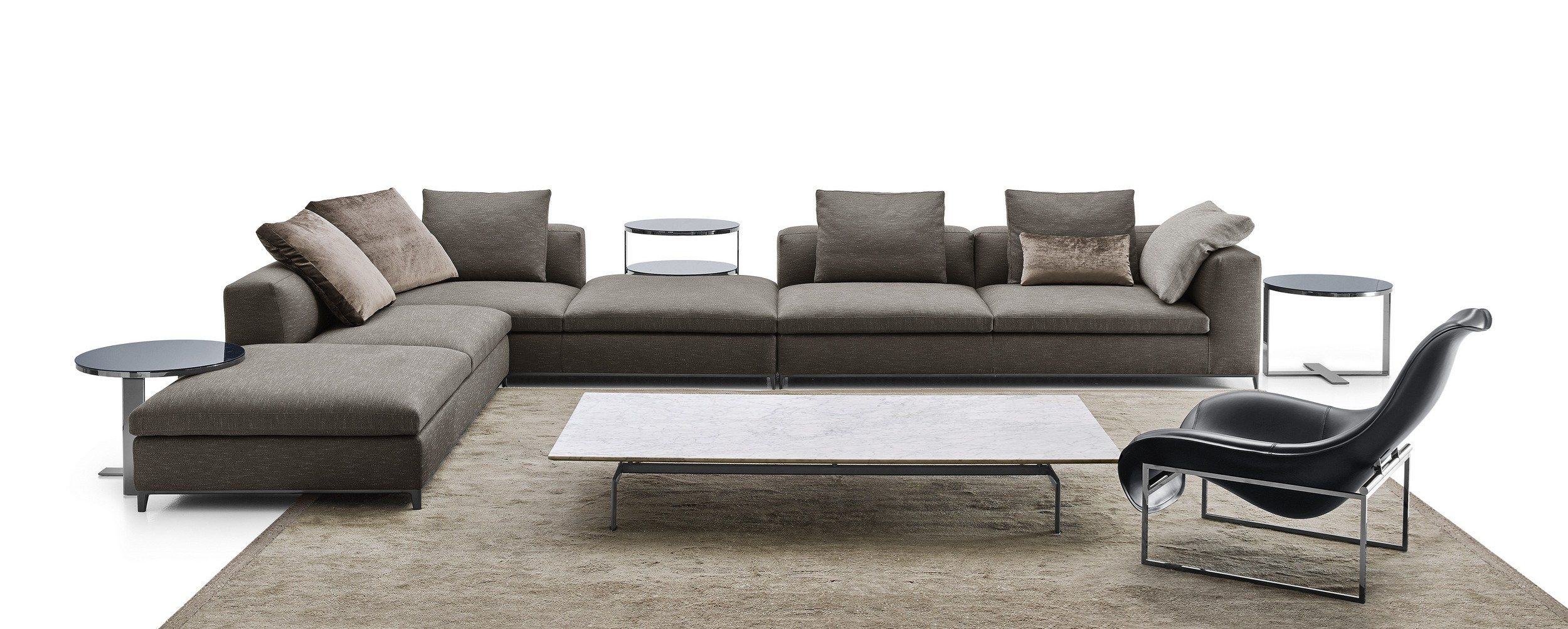 Corner Sectional Upholstered Fabric Sofa Michel Club Michel