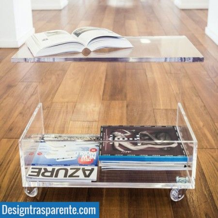 AuBergewohnlich Acrylic Coffee Table With Magazine Rack