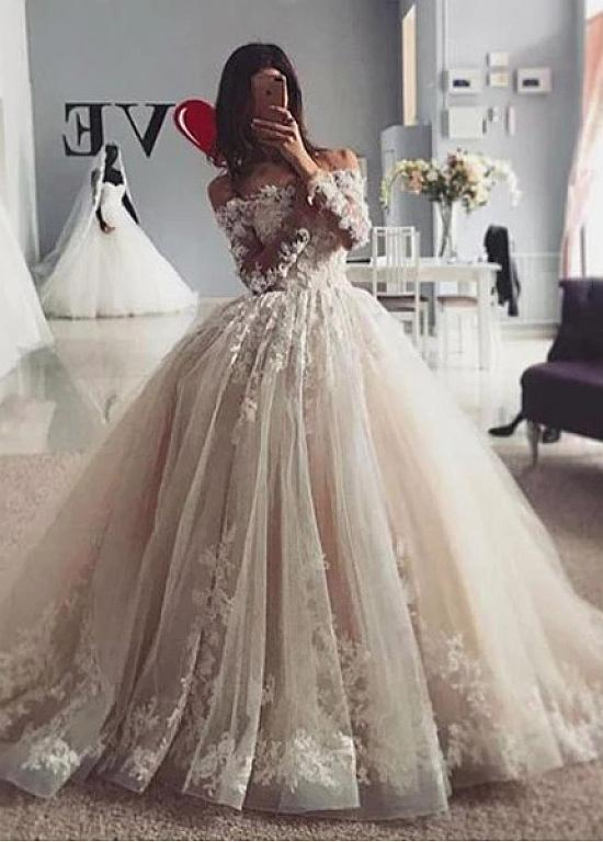 [285.60] Glamorous Tulle Off-the-shoulder Neckline Ball Gown Wedding Dresses With 3D Lace Appliques & Beadings #tulleballgown