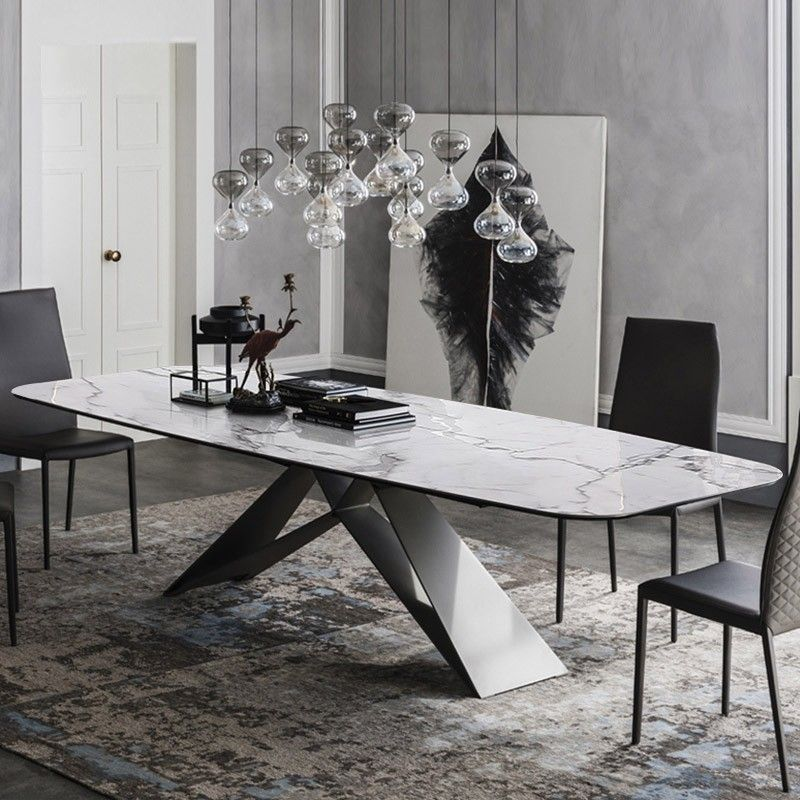 Stylish 63 71 79 Rectangular White Faux Marble Dining Table