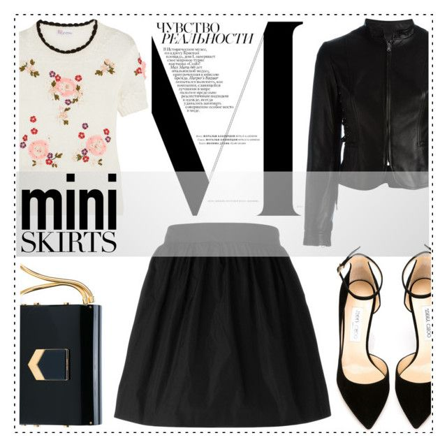 """""""Mini Skirt"""" by alaria ❤ liked on Polyvore featuring Prada, RED Valentino, Jimmy Choo and MINISKIRT"""