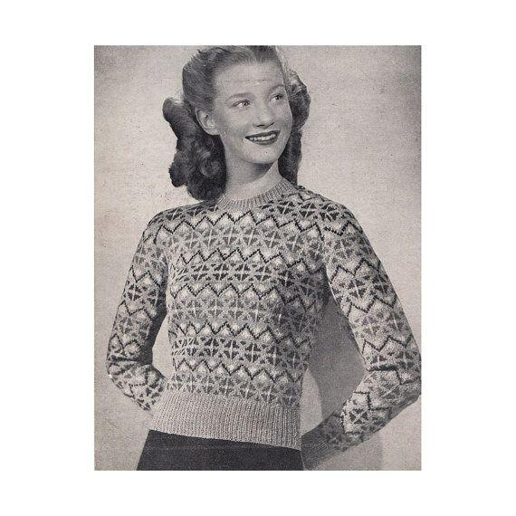 1930s Fair Isle Sweater Knitting Pattern Bestway Leaflet 1791 ...