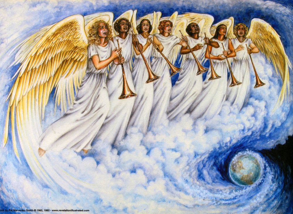 Revelation 8 2 And I Saw The Seven Angels Which Stood Before God And To Them Were Given Seven Trumpets Seven Trumpets Trumpets Bible Prophecy