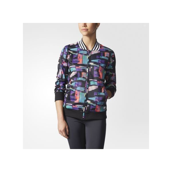 adidas adigirl Printed Track Jacket Black ($70) ❤ liked on Polyvore featuring activewear, activewear jackets, black, tracksuit jacket, adidas activewear, adidas sportswear, warm up jacket and track top