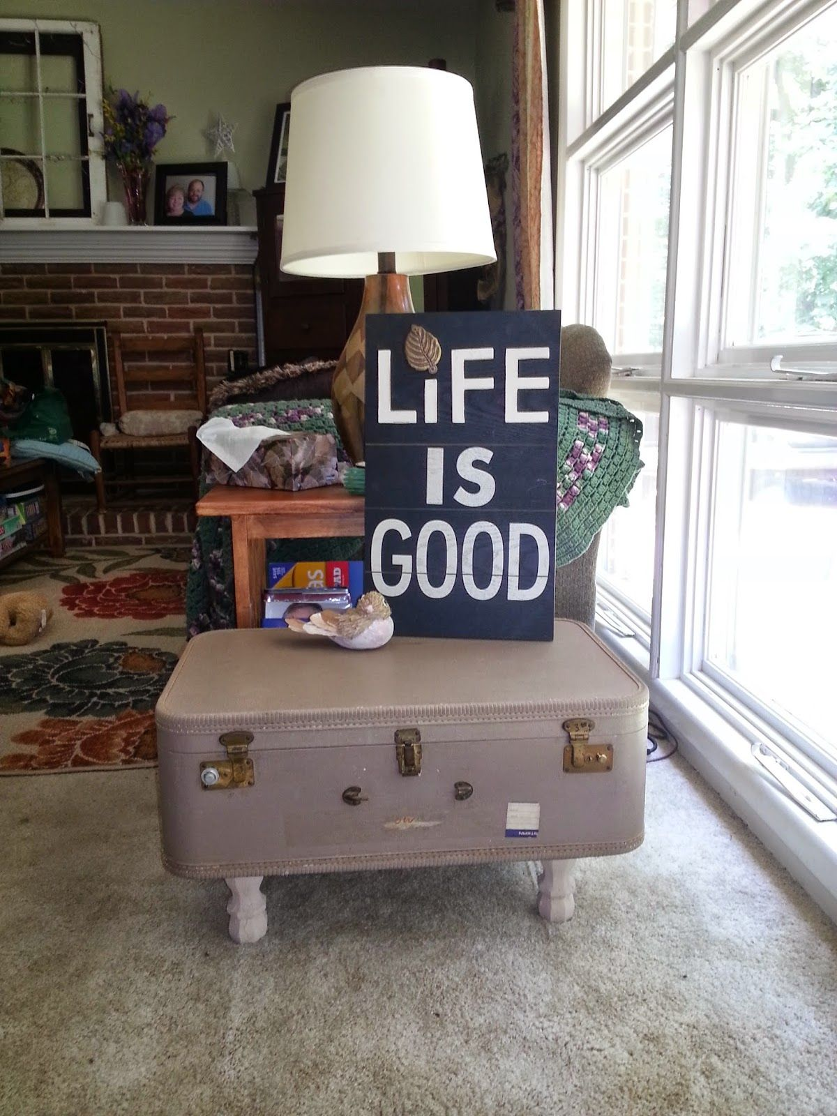 suitcase table; suit case ottoman; upcycle