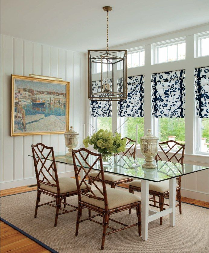 Dining Room With Chinese Chippendale Rattan Chairs Glass Top
