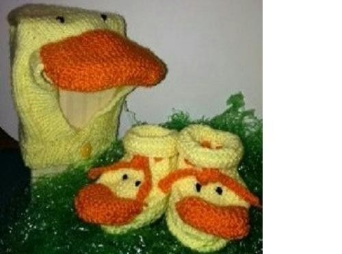 NEW ITEM Handmade Knitted Baby Duck Hat and Booties Set 3 - 6 Months Unisex #Handmade