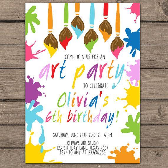 Art Party Birthday Invitation Rainbow Art Party Invitation with ...