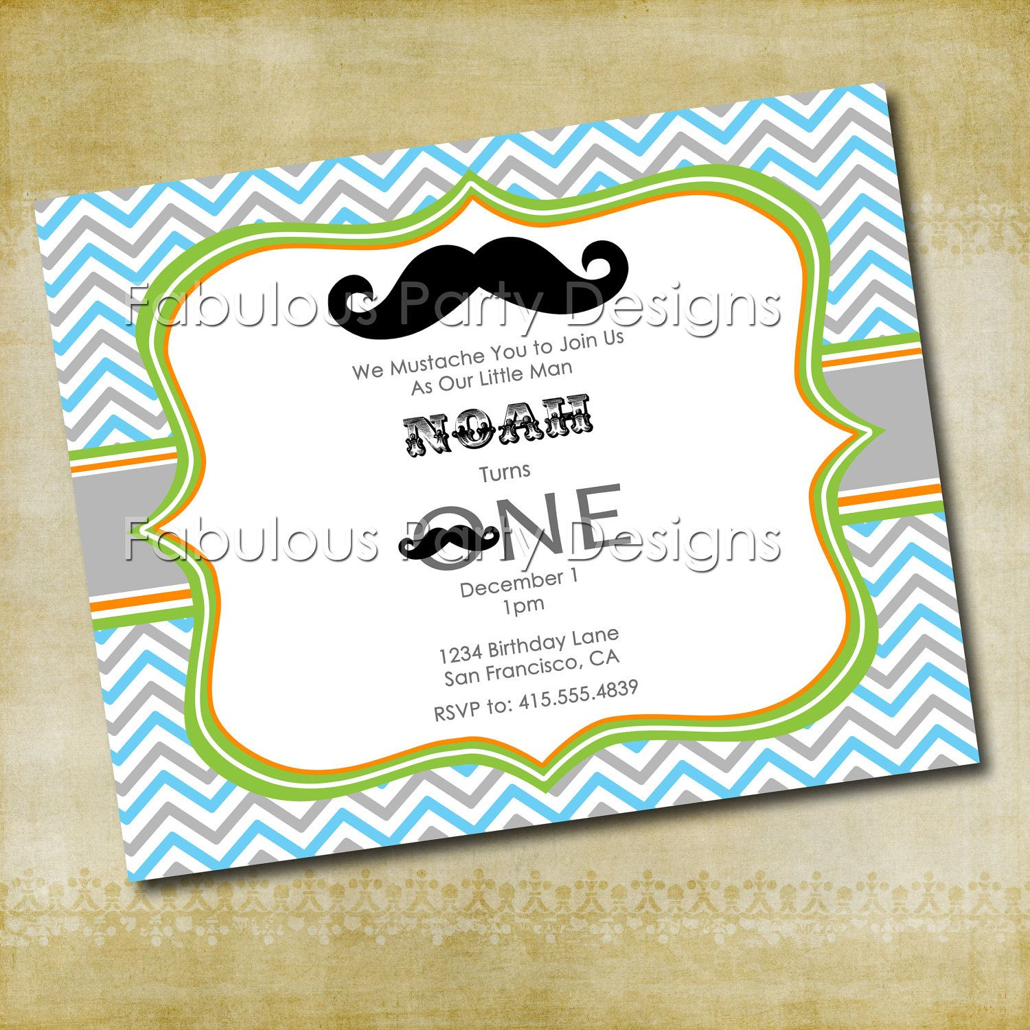 Mustache Bash - Personalized Mustache Party Invitation. $10.00, via ...