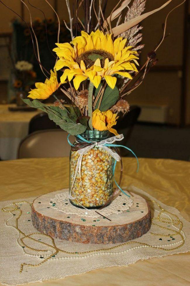 Herbstdeko Für Den Tisch Glas Mais Gefuellt Sonnenblumen Hozscheibe